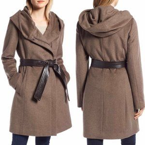 COLE HAAN SIGNATURE Hoodied Wool Blend Coat 12 NWT